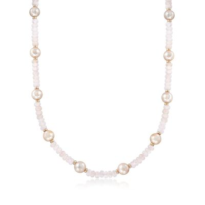 95.00 ct. t.w. Morganite Bead and 9.5-10.5mm Pink Cultured Pearl Station Necklace with 14kt Gold