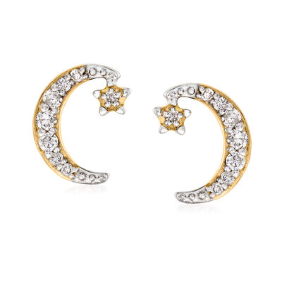 .30 ct. t.w. Diamond Crescent Moon and Star Earrings in 14kt Yellow Gold