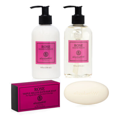 Rose Hand Wash, Lotion and Soap Bar Set
