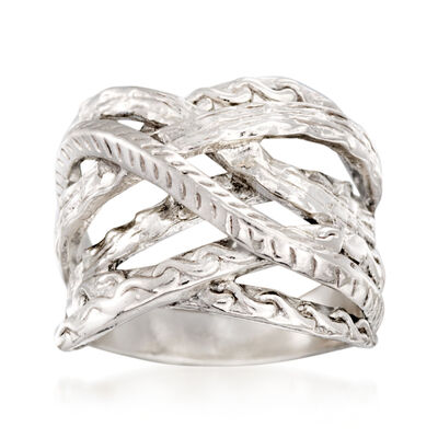 Textured Sterling Silver Crisscross Ring, , default