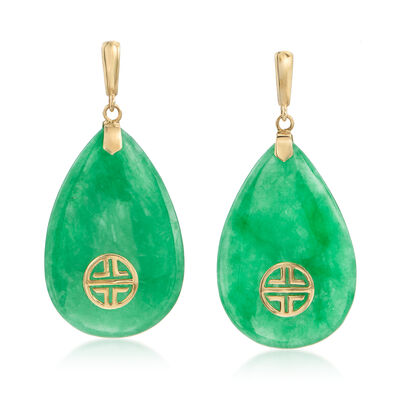 "Jade Drop Earrings with ""Long Life"" Chinese Marking in 14kt Yellow Gold, , default"