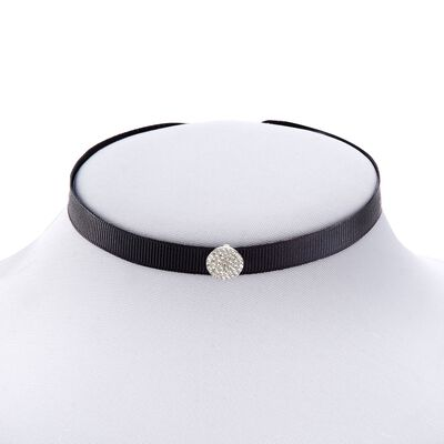 Black Ribbon and .65 ct. t.w. CZ Circle Choker Necklace with Sterling Silver, , default