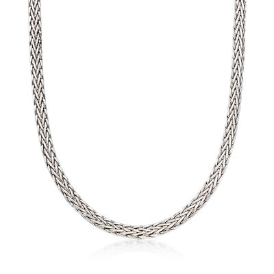 14kt White Gold Wheat-Link Necklace, , default