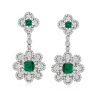 1.55 ct. t.w. Emerald and 2.15 ct. t.w. Diamond Floral Drop Earrings in 14kt White Gold