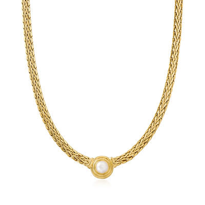 8mm Cultured Pearl Flat Wheat Chain Necklace in 18kt Gold Over Sterling
