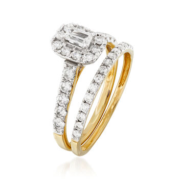 1.00 ct. t.w. Diamond Bridal Set: Engagement and Wedding Rings in 14kt Yellow Gold. Size 7, , default