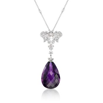 """C. 2000 Vintage 47.97 Carat Amethyst and 1.35 ct. t.w. Diamond Pendant Necklace in 18kt White Gold. 16"""", , default"""