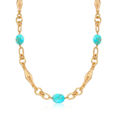 Turquoise Bead Necklace in 18kt Yellow Gold Over Sterling Silver, , default