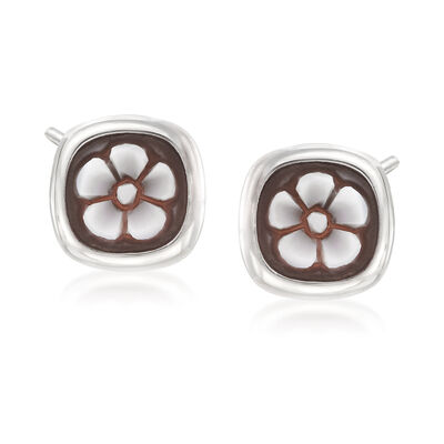 Italian Shell Cameo Flower  Earrings in Sterling Silver, , default