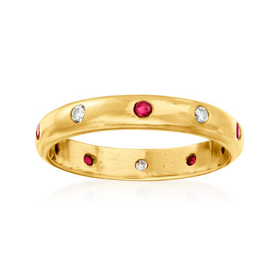 C. 1980 Vintage .20 ct. t.w. Ruby and .15 ct. t.w. Diamond Ring in 18kt Yellow Gold