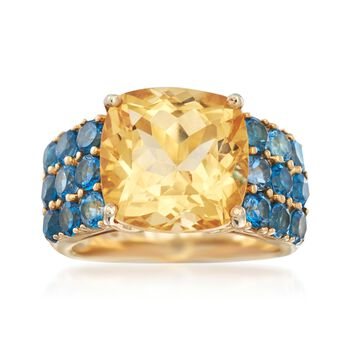 5.50 Carat Citrine and 2.10 ct. t.w. Blue Topaz Ring in 14kt Gold Over Sterling, , default