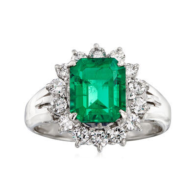 C. 2000 Vintage 2.21 Carat Certified Emerald and .56 ct. t.w. Diamond Ring in Platinum, , default