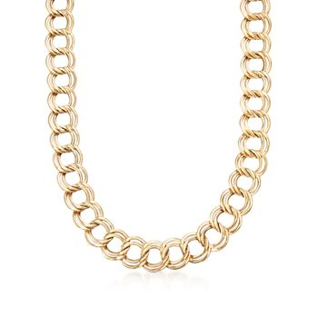 """14kt Yellow Gold Interlocking Double-Link Necklace. 18"""", , default"""