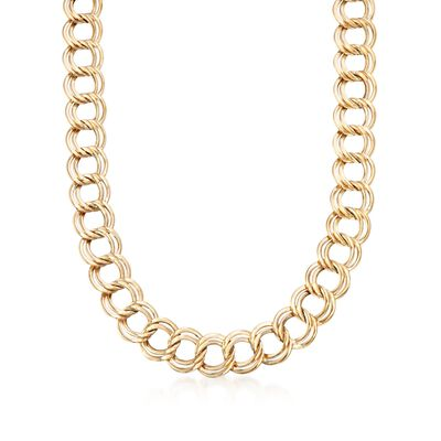 14kt Yellow Gold Interlocking Double-Link Necklace, , default