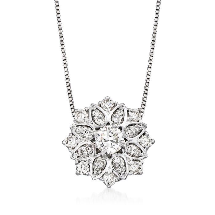 .50ct. t.w. Diamond Floral Pendant Necklace in Platinum, , default