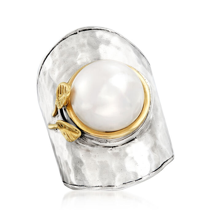 11-12mm Cultured Pearl Ring in Sterling Silver and 14kt Yellow Gold