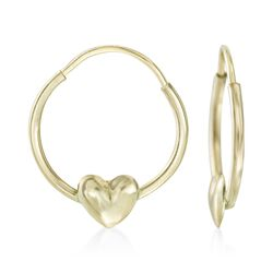 Child's 14kt Yellow Gold Heart Hoop Earrings, , default