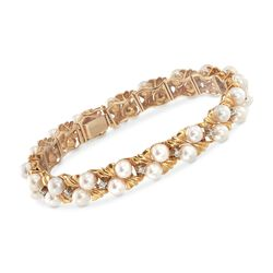 "C. 1980 Vintage 4.5-5 Cultured Pearl and .25 ct. t.w. Diamond Bracelet in 14kt Yellow Gold. 7"", , default"