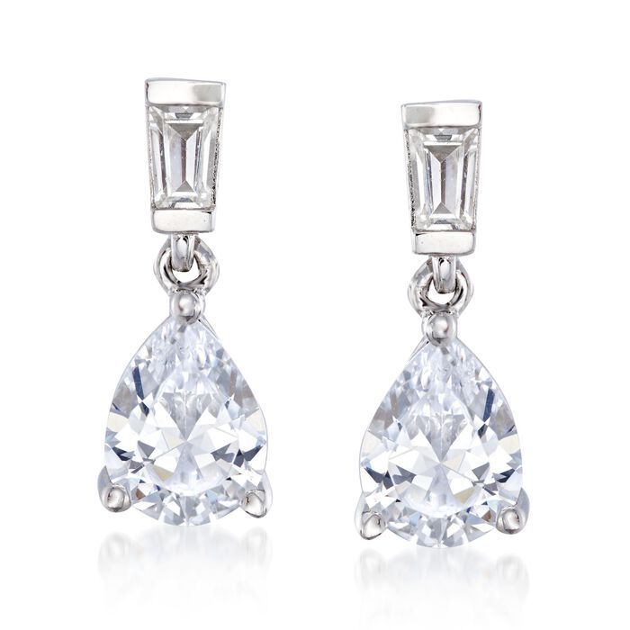2.50 ct. t.w. Baguette and Pear-Shaped CZ Drop Earrings in Sterling Silver , , default