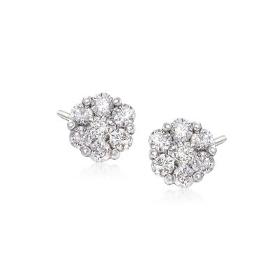 1.00 ct. t.w. Diamond Floral Cluster Stud Earrings in 14kt White Gold, , default