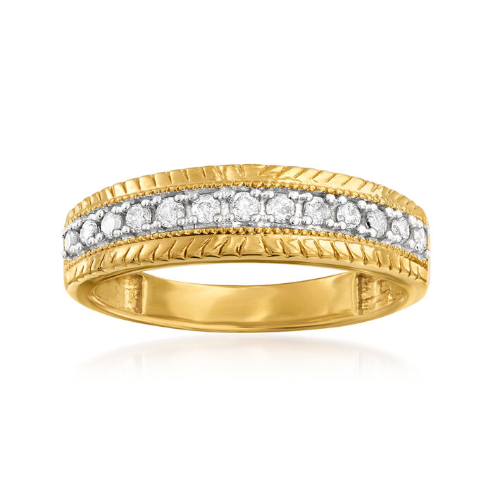 .25 ct. t.w. Diamond Center-Row Ring in 18kt Gold Over Sterling