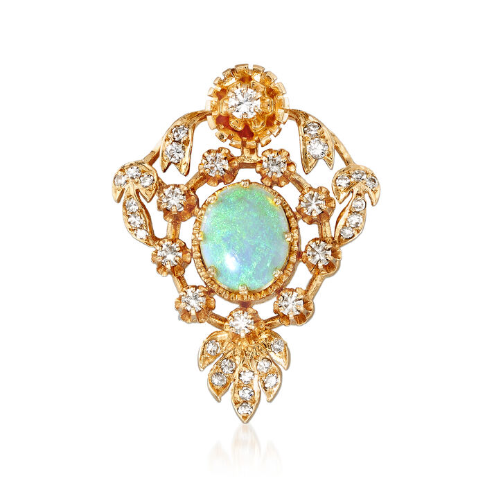 C. 1970 Vintage Opal and .60 ct. t.w. Diamond Pin Pendant in 14kt Yellow Gold