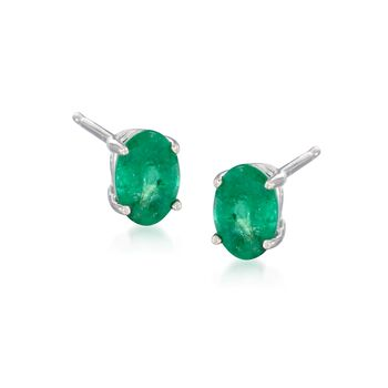 .90 ct. t.w. Emerald Earrings in 14kt White Gold , , default