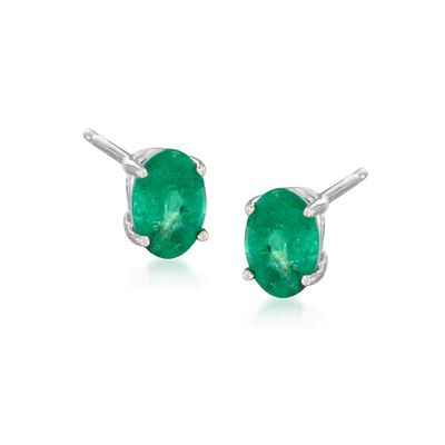 .90 ct. t.w. Emerald Earrings in 14kt White Gold, , default