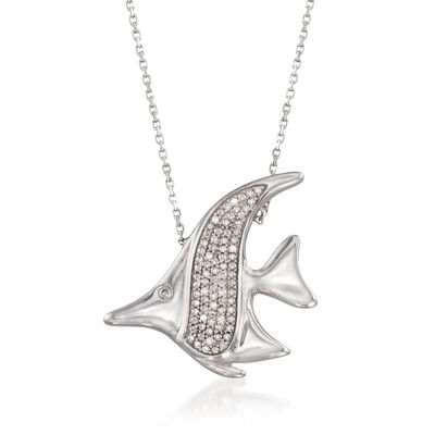 Diamond Accent Fish Necklace in Sterling Silver, , default