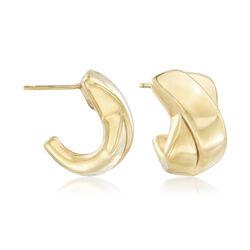 Italian 14kt Yellow Gold Crisscross J-Hoop Earrings, , default