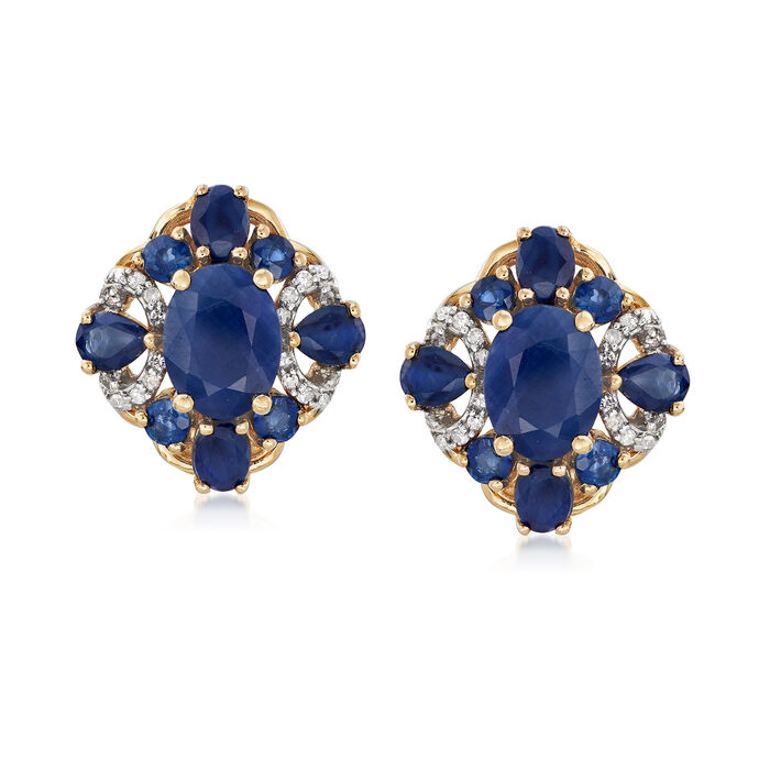 6.90 ct. t.w. Sapphire and .15 ct. t.w. Diamond Earrings in 14kt Yellow Gold