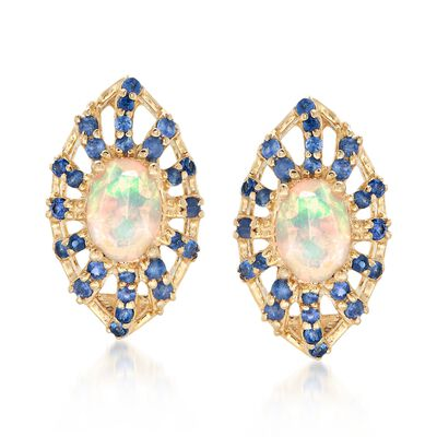 Opal and 1.60 ct. t.w. Sapphire Earrings in 14kt Yellow Gold, , default