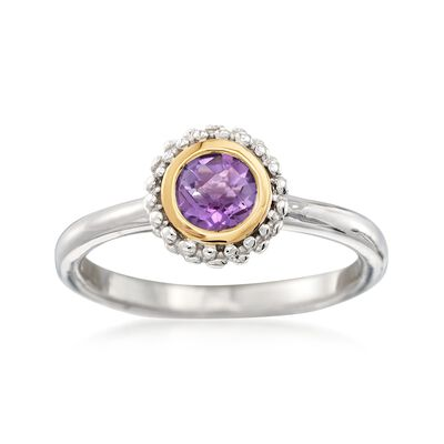 "Phillip Gavriel ""Popcorn"" .50 Carat Amethyst Ring in Sterling Silver and 18kt Gold"