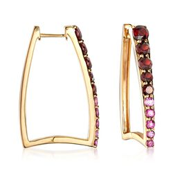2.00 ct. t.w. Garnet and .60 ct. Tw. Rhodolite Graduated Square Hoop Earrings in 18kt Yellow Gold Over Sterling Silver. Hoop Earrings, , default
