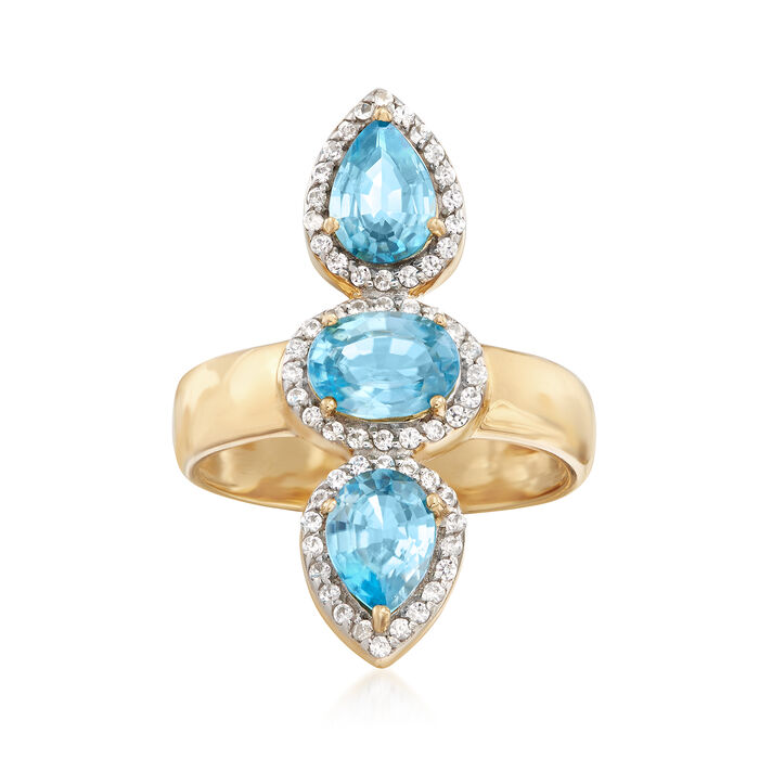 3.30 ct. t.w. Blue and White Zircon Frame Ring in 18kt Gold Over Sterling