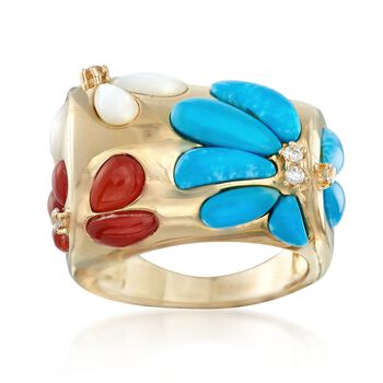 2.3-9.5mm Multi-Stone Flower Ring With CZs in 18kt Gold Over Sterling, , default