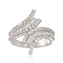 1.35 ct. t.w. Baguette and Round Diamond Bypass Ring in 14kt White Gold, , default