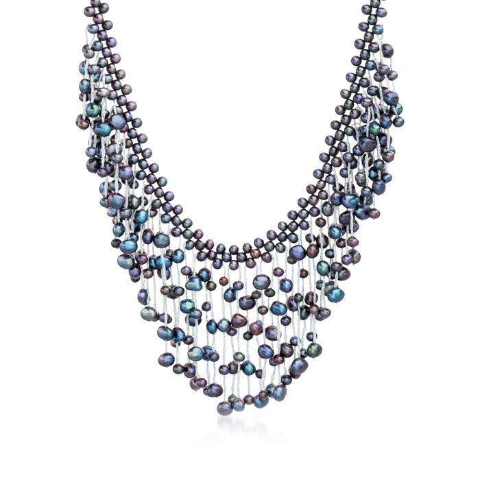 "4-7.5mm Black Cultured Pearl Fringe Necklace With Sterling Silver. 18"", , default"
