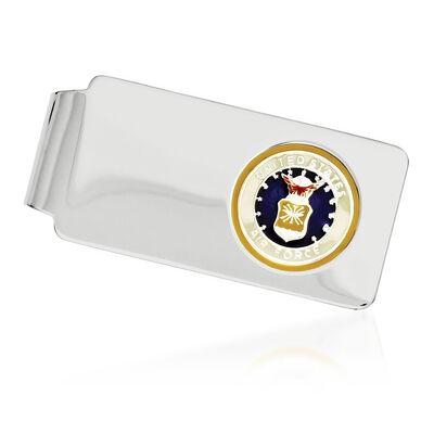 Sterling Silver U.S. Air Force Enameled Engravable Money Clip, , default