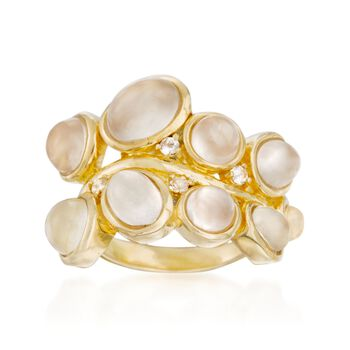 Moonstoon Cluster Ring With White Topaz Accents in 18kt Gold Over Sterling, , default