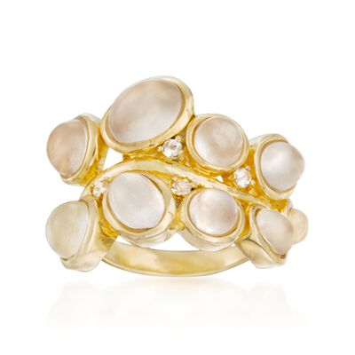 Moonstone Cluster Ring With White Topaz Accents in 18kt Gold Over Sterling, , default