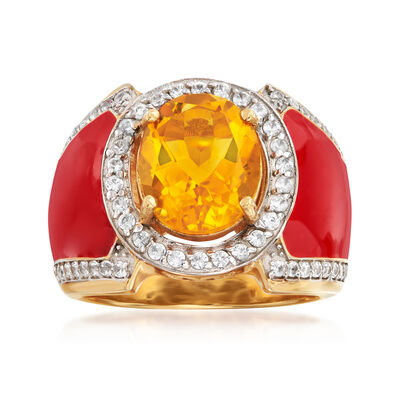 3.20 Carat Citrine and .30 ct. t.w. White Topaz Ring with Red Enamel in 18kt Gold Over Sterling
