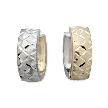 """14kt Two-Tone Gold Diamond-Cut Reversible Huggie Hoop Earrings. 5/8"""", , default"""