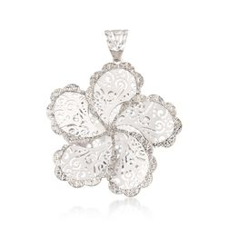 Italian Sterling Silver Diamond-Cut Swirl Flower Pendant, , default