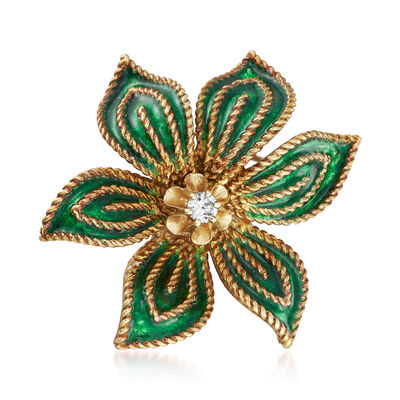 C. 1970 Vintage Hammerman Brothers .15 Carat Diamond Flower Pin with Green Enamel in 18kt Yellow Gold, , default