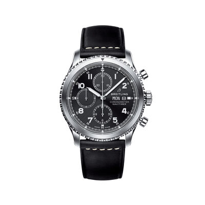 Breitling Navitimer 8 Chronograph Men's 43mm Stainless Steel Watch - Black Dial and Leather Strap