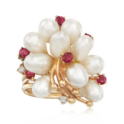 C. 1970 Vintage Cultured Pearl and .30 ct. t.w. Ruby Ring in 14kt Yellow Gold With Diamond Accents, , default