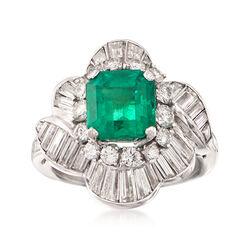 C. 1990 Vintage 2.20 Carat  Emerald and 2.50 ct. t.w. Diamond Ballerina Ring in Platinum. Size 4.75, , default