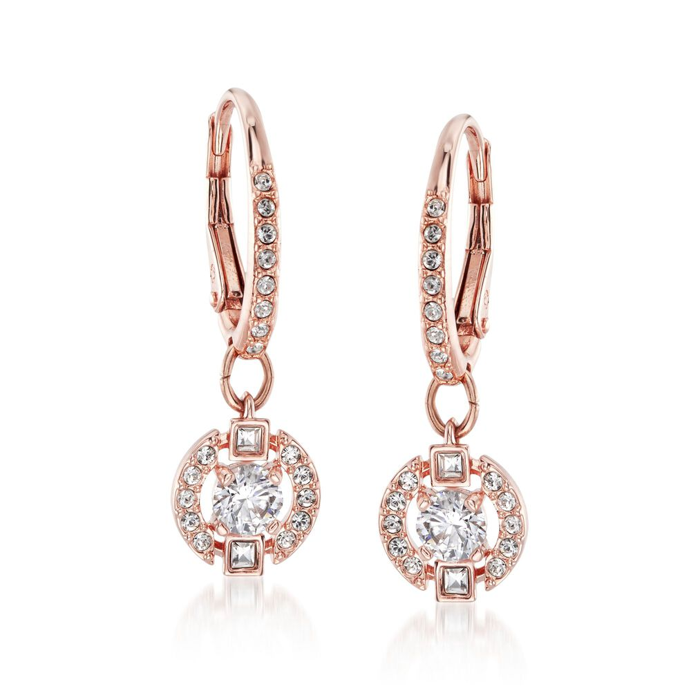 Swarovski Crystal Sparkling Dance Floating Drop Earrings In Rose Gold