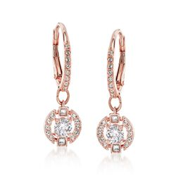 "Swarovski Crystal ""Sparkling Dance"" Floating Crystal Drop Earrings in Rose Gold Plate, , default"